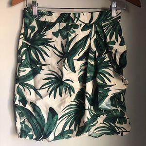 H&M Green Palm Skirt